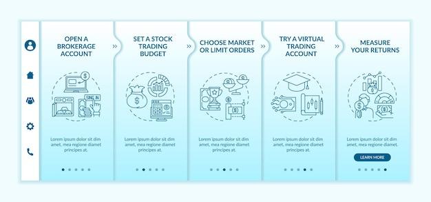 Inwestowanie w szablon wektora wdrażania kroków giełdowych. responsywna strona mobilna z ikonami. przewodnik po stronie internetowej 5 ekranów krokowych. budżet, konto wirtualne, koncepcja kolorystyczna zwrotów z liniowymi ilustracjami