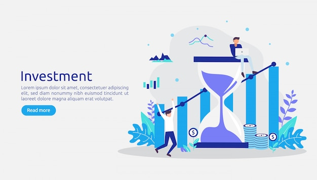 Inwestycja biznesowa. graficzny wykres zwrotów z inwestycji. wzrost finansowy do sukcesu