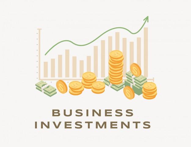 Inwestycja biznesowa, powstająca wykres ilustracja. rosnący wykres słupkowy i strzałka, rosnące dochody, udana strategia biznesowa, zarabianie pieniędzy. analiza finansowa i współpraca rio