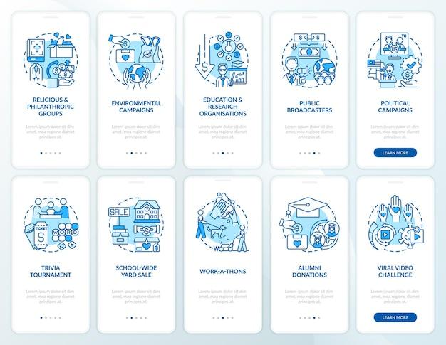 Inwestycja charytatywna zestaw ekranów stron aplikacji mobilnej onboarding. przewodnik po wydarzeniu filantropijnym 5 kroków instrukcje graficzne z koncepcjami. szablon wektorowy ui, ux, gui z liniowymi kolorowymi ilustracjami