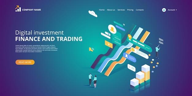 Inwestycja cyfrowa. statystyki online. ilustra izometryczna
