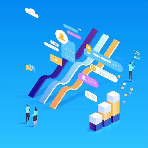 Inwestycja cyfrowa. statystyki online. izometryczna ilustracja na stronę docelową, projektowanie stron internetowych, baner i prezentację.