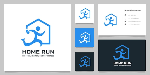 Inwestycja domowa runner logo design prosta ilustracja