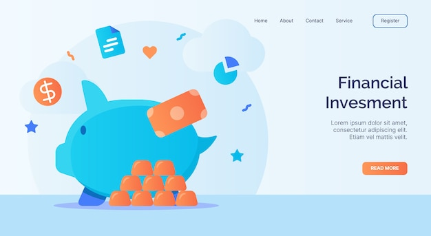 Inwestycja finansowa kampania ikona skarbonki dla szablonu strony głównej strony internetowej w stylu kreskówki.