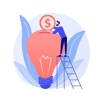 Inwestycja kapitałowa, sponsoring. darowizna pieniężna, finansowanie startu, wsparcie finansowe. element projektu filantropii. inwestor wkłada pieniądze w żarówkę.