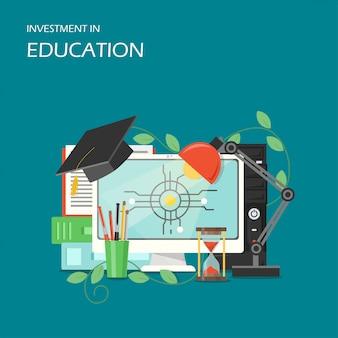 Inwestycja w edukaci pojęcia wektorową płaską ilustrację