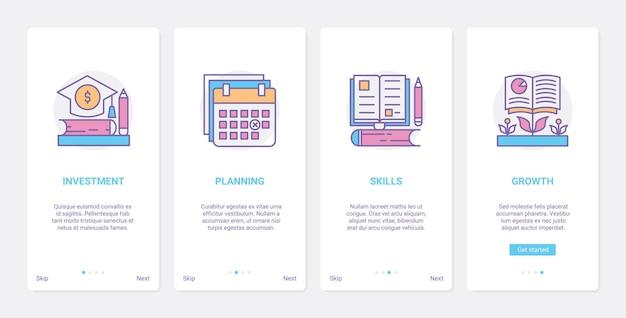 Inwestycja w edukację ux ui wprowadzający ekran strony aplikacji mobilnej z symbolami linii