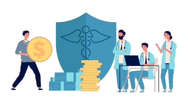 Inwestycja w opiekę zdrowotną. człowiek posiadający pieniądze, lekarze dostają stypendia. zysk z medycyny, darowizny wolontariuszy do koncepcji wektora szpitala. lekarz koncepcji opieki zdrowotnej z pieniędzmi, inwestycja w ilustrację medyczną