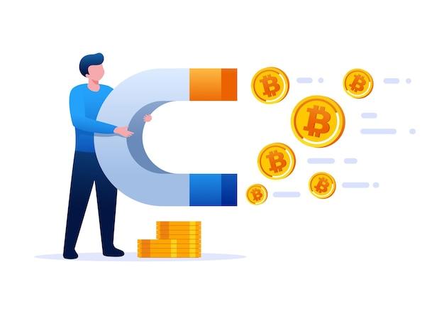 Inwestycja z banerem ilustracji wektorowych płaskiego bitcoina i stroną docelową
