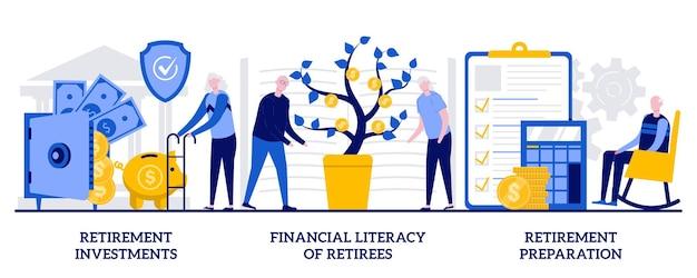 Inwestycje emerytalne, finansowe kompetencje emerytów, koncepcja przygotowania do emerytury z małymi ludźmi. fundusz emerytalny streszczenie wektor zestaw ilustracji. edukacja osób starszych, metafora oszczędzania pieniędzy.