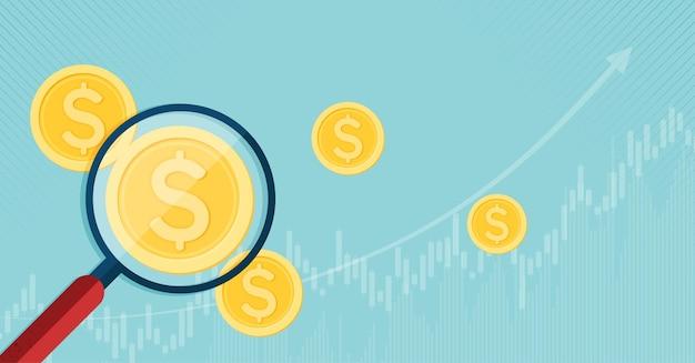 Inwestycje finansowe i zarządzanie za pomocą szkła powiększającego szukaj wektorów złotych monet