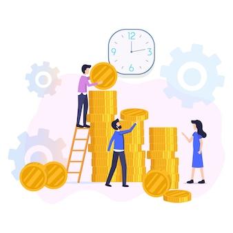 Inwestycje finansowe powrót płaski wektor koncepcja