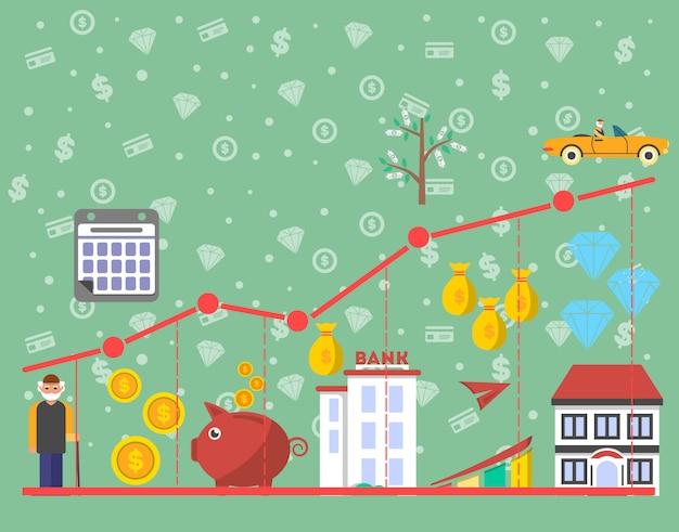 Inwestycje w infografiki starości w płaskiej konstrukcji