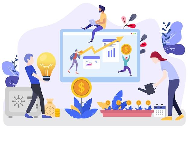 Inwestycje wektor ilustracja koncepcje z postaciami