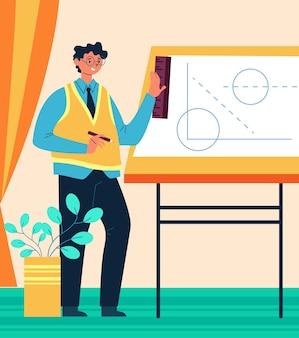 Inżynier architekt człowiek pracownik postać rysunek schemat koncepcji koncepcji. ilustracja wektorowa płaski projekt graficzny