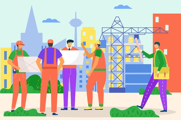 Inżynier, architekt ludzie pracują w budownictwie, ilustracji wektorowych. profesjonalna praca inżynierska dla budownictwa, postać pracownika człowieka omówić projekt z konstruktorem, wykonawcą. witryna architektury miejskiej.