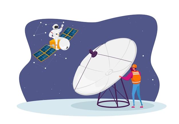 Inżynier astronomii badania postaci w przestrzeni kosmicznej z ogromną anteną