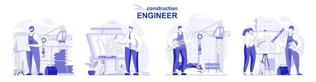 Inżynier budowlany na białym tle zestaw w płaskiej konstrukcji ludzie rysują prace projektowe na placu budowy