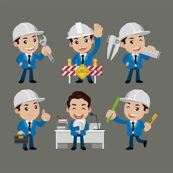 Inżynier budowlany o różnych pozach