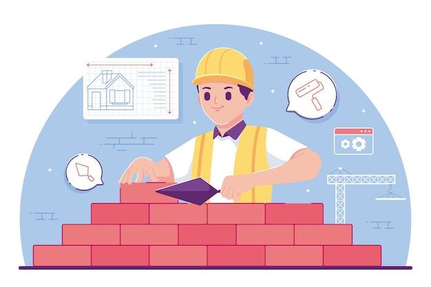 Inżynier budownictwa lądowego płaska konstrukcja ... tło stration