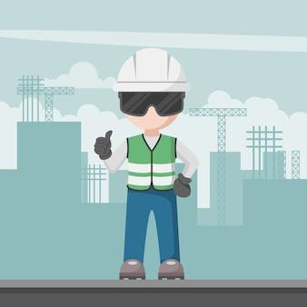 Inżynier budownictwa z zespołem ochrony osobistej na placu budowy
