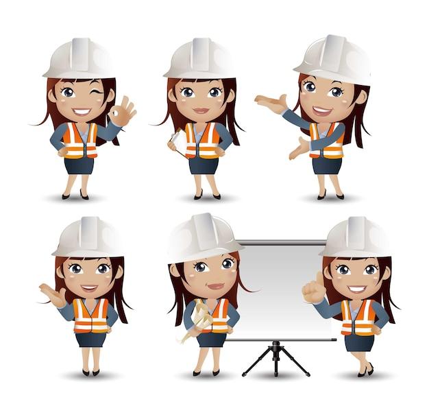 Inżynier budowniczy zawodów z różnymi pozami