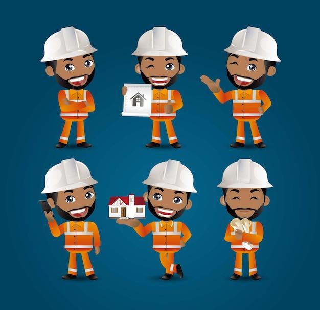 Inżynier budowniczy zawodu z różnymi pozami