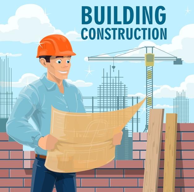 Inżynier budowy, architekt lub wykonawca. inżynier w hełmie ochronnym patrząc na plan, architekt studiujący rysunki budowlane i plan czytania wykonawcy firmy budowlanej