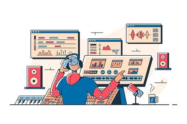 Inżynier dźwięku nowoczesne miejsce pracy