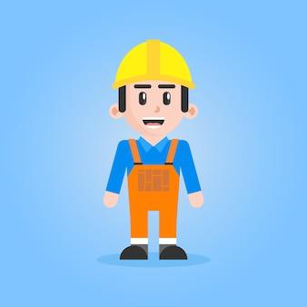 Inżynier ilustracja postać pracownika budowy