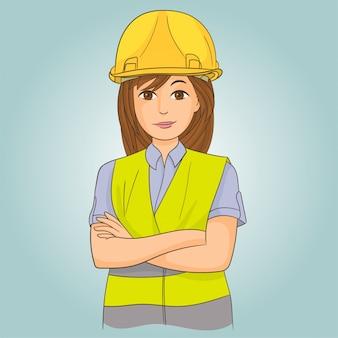 Inżynier kobieta z kaskiem