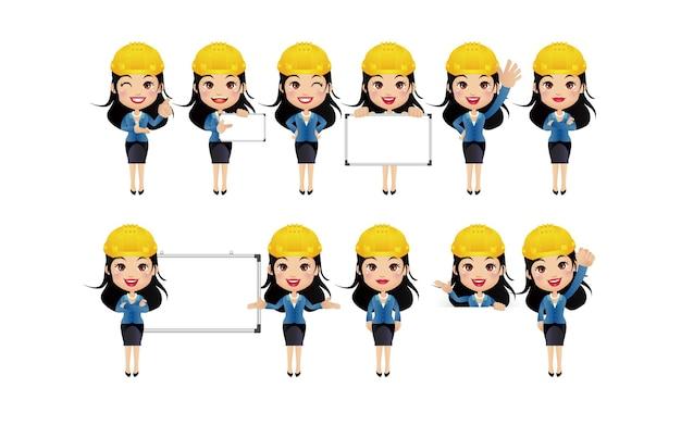 Inżynier. ludzie o różnych pozach.