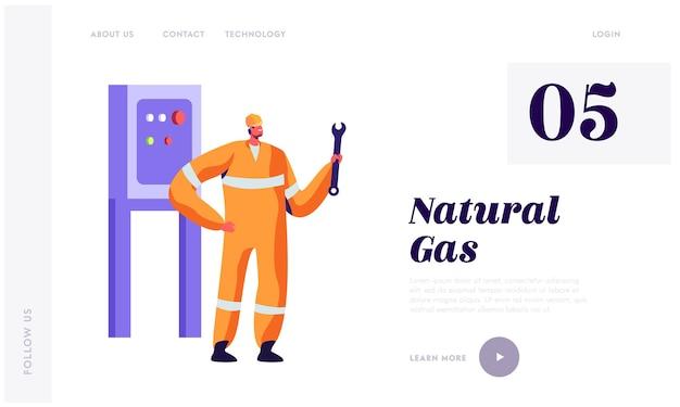 Inżynier mężczyzna ze stroną docelową serwisu kluczy dla przemysłu gazowego.