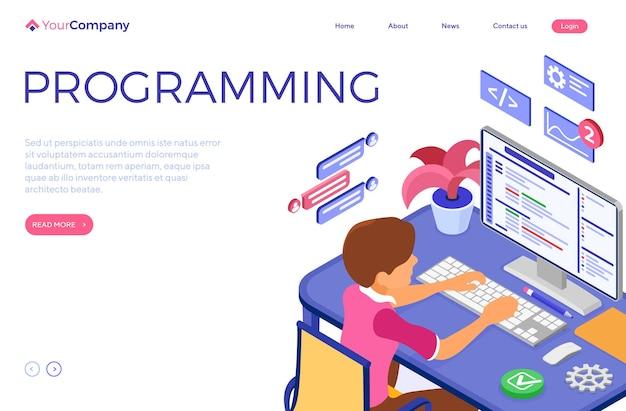 Inżynier oprogramowania opracowujący program.