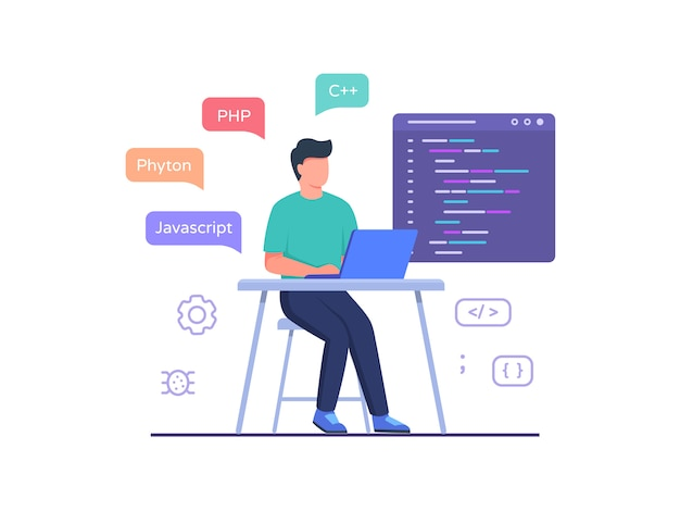 Inżynier oprogramowania siedzi na krześle, pracując na laptopie, używa kodu języka programowania w stylu płaskiej kreskówki.