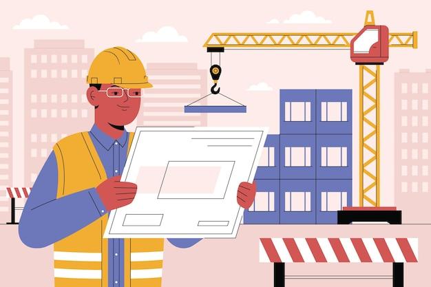 Inżynier organiczny płaski pracujący na budowie
