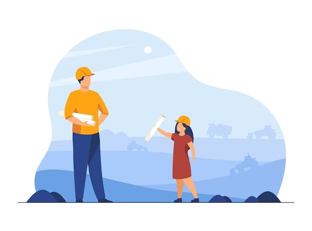 Inżynier pracujący na miejscu ze swoim dzieckiem. kask, ojciec pracujący z dzieckiem. ilustracja kreskówka