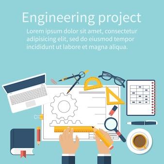 Inżynier pracujący nad planem. rysunek techniczny, schemat techniczny