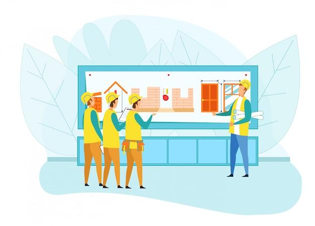 Inżynier przedstawiający projekt grupie budowniczych