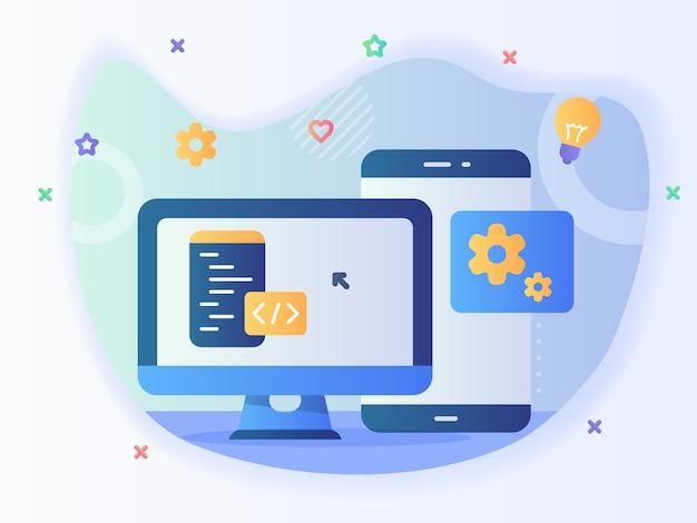 Inżynier technologii koncepcja tworzenia oprogramowania strony internetowej aplikacji z kodem i komputerem z nowoczesnym stylem ikony - wektor