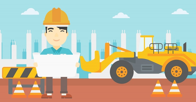Inżynier trzyma projekt.