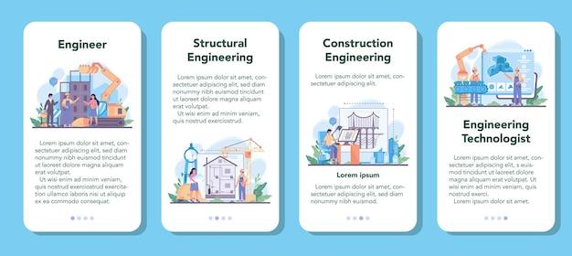 Inżynieria zestaw banerów aplikacji mobilnej. technologia i nauka.
