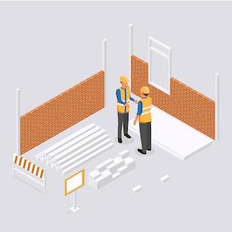 Inżynierowie izometryczni pracujący na budowie