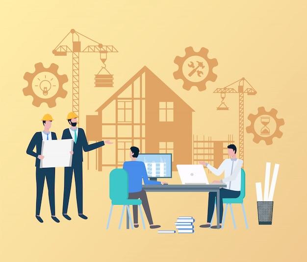 Inżynierowie ludzie nadzorujący proces budowlany