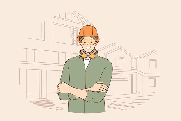 Inżynierowie Płci Męskiej Podczas Koncepcji Pracy Premium Wektorów