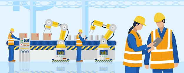 Inżynierowie przemysłowi używający w fabryce przemysłowych ramion robotów sterujących tabletami.