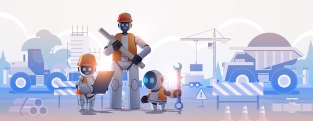 Inżynierowie robotów w kaskach trzymających rysunki architekci robotów z planami technologia sztucznej inteligencji