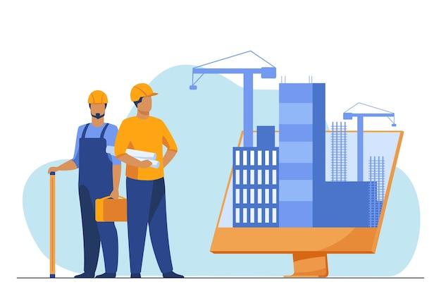 Inżynierowie stojący w pobliżu dużego monitora z budynkami. projekt, dźwig, ilustracja wektorowa płaski ekran. budowa i inżynieria