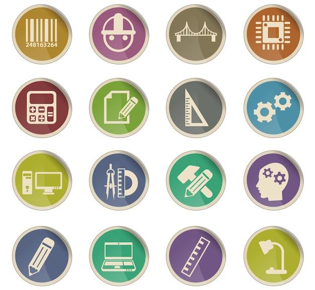 Inżynierskie ikony wektorowe w postaci okrągłych etykiet papierowych