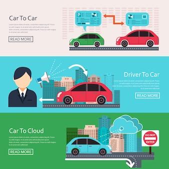 Iot w banerach koncepcyjnych motoryzacyjnych w płaskiej konstrukcji
